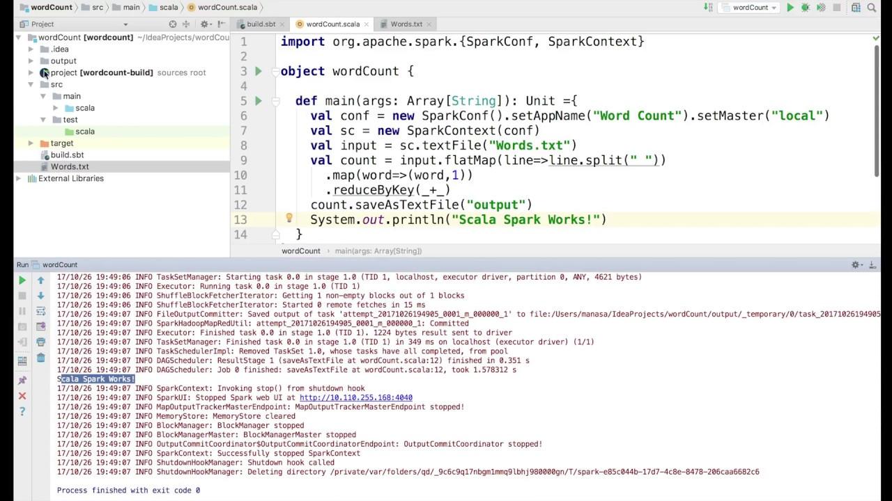 Spark Scala WordCount program using IntelliJ