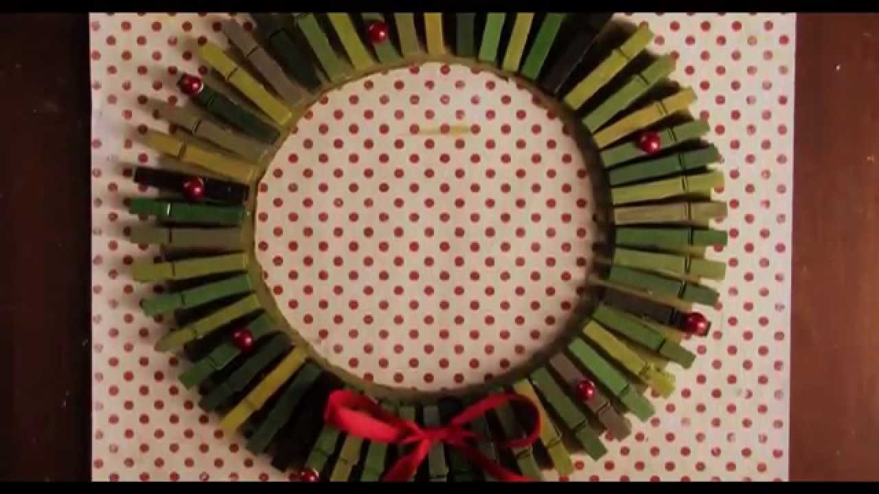 DIY: Christmas Wreath Clothes Pin Card Holder   YouTube