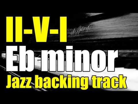 II-V-I minor jazz guitar play-along in Eb minor