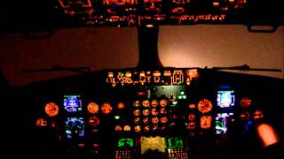 Boeing 737-500 cockpit.Night ILS RW19 landing at VKO