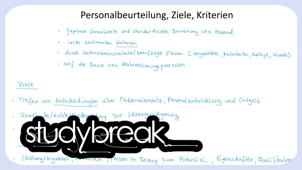 Personalbeurteilung, Ziele, Kriterien | Personal - YouTube