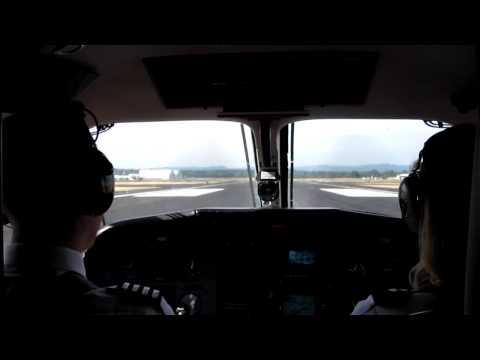 Pilatus PC-12 aircraft taking off from Portland, Oregon