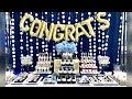 Graduation Party Desserts | Blue White Gold Graduation Buffet Table