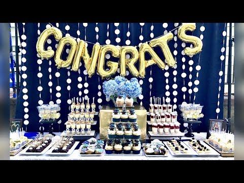 Graduation Party Desserts   Blue White Gold Graduation Buffet Table