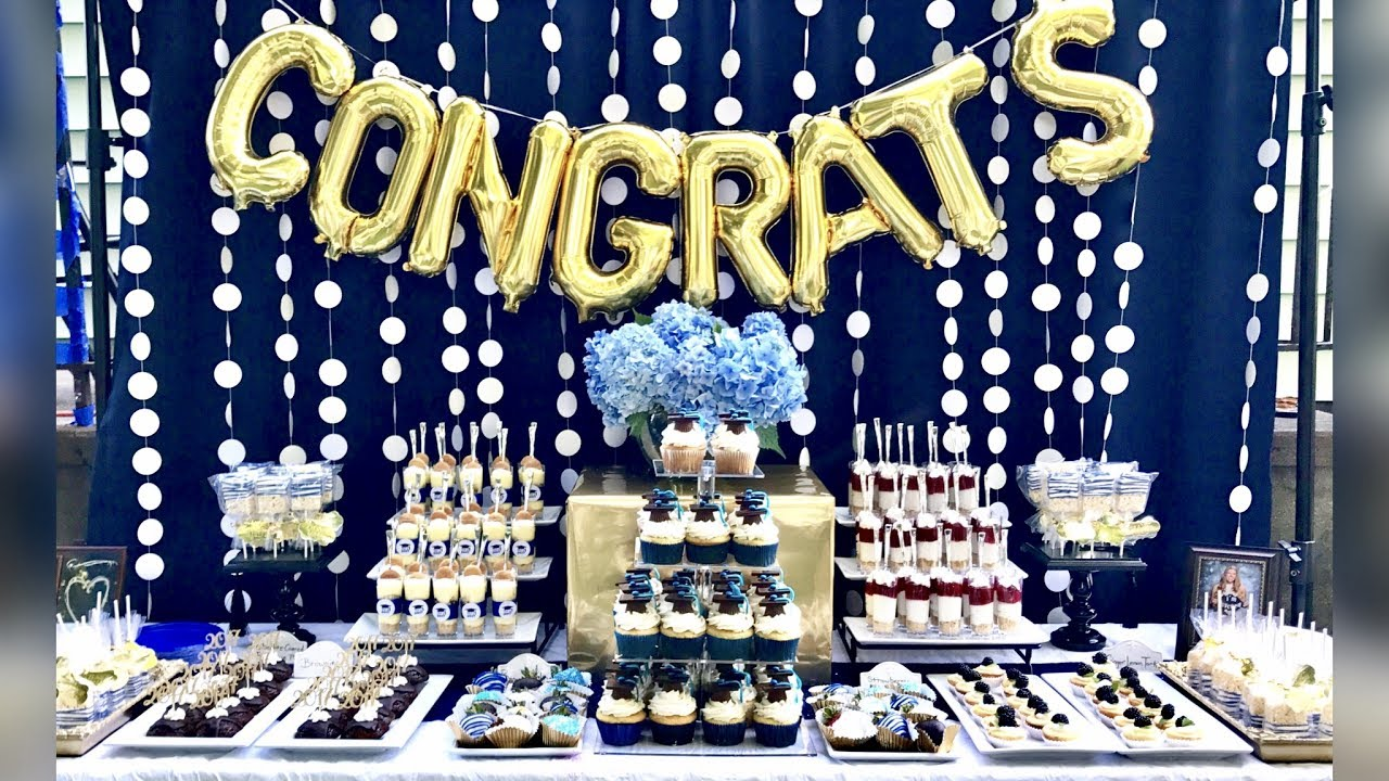 Graduation Party Desserts Blue White Gold Graduation Buffet Table
