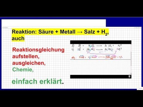 Reaktion: Säuren mit Metallen, Reaktionsgleichung ...
