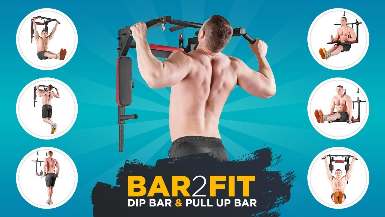 Pull up bar with dip bars bar fit garage gym home workout
