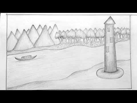 most-attraction-scenery-sekch-|-pencil-drawing-|-landscape-art