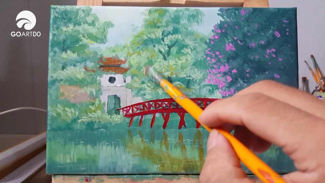 Vẽ quê hương #01 | Vẽ Hà Nội, vẽ cầu thê húc hồ gươm