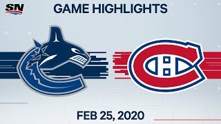NHL Highlights | Canucks vs. Canadiens - Feb. 25, 2020