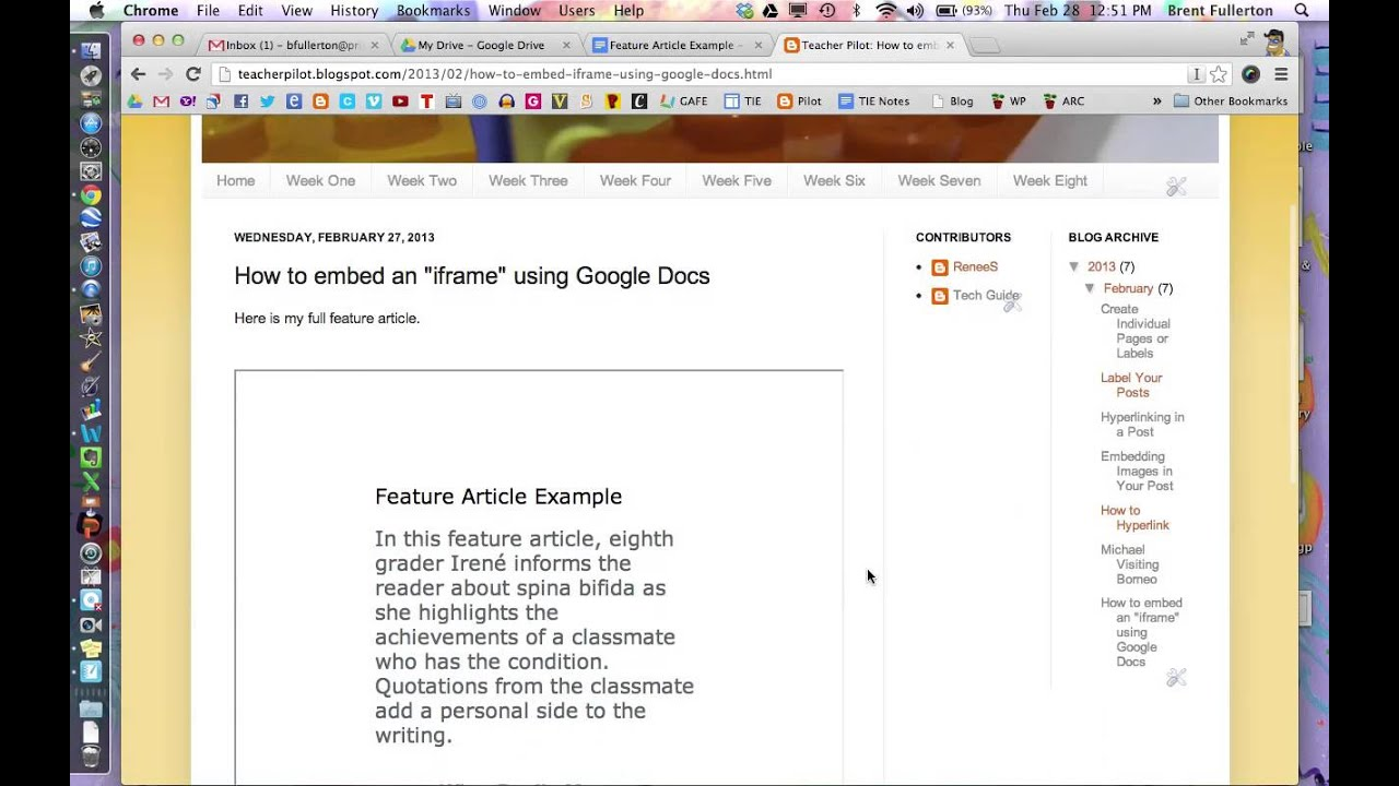 How to embed Google Docs into a webpage using iFrame - YouTube