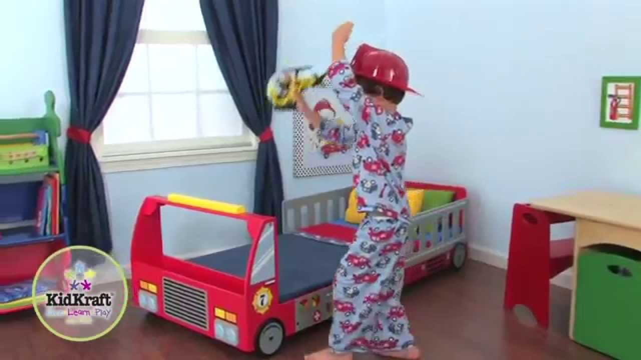 Lit pour enfant camion de pompier en bois kidkraft youtube - Lit camion de pompier ...