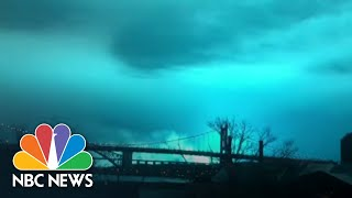 Watch Eerie Blue Light Engulf NYC Sky After Explosion At Power Plant | NBC News