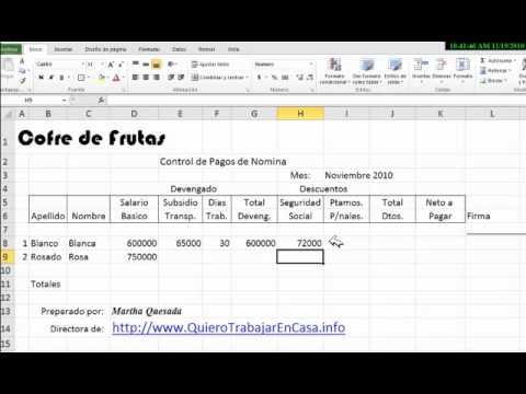 Excel plantilla para control de pagos nomina proveedores Formato para pago de nomina