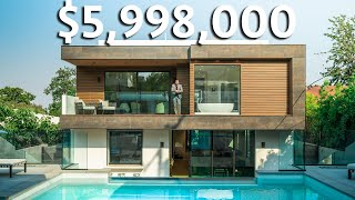Inside a $5,998,000 Los Angeles Modern SMART HOME with Glass Infinity Edge Pool