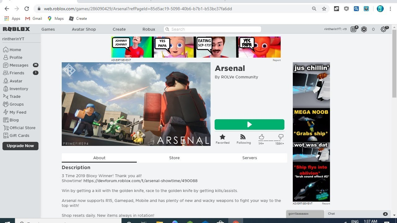 Roblox Arsenal And Other Games Youtube