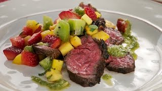 Grill Like A Pro! Chipotle Ginger Hanger Steak With Spicy Fruit Salsa