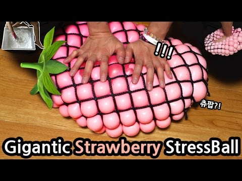 DIY Gigantic Strawberry Stress Ball!!! How to Make Slime CHU