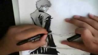 Drawing Ichigo (bankai)