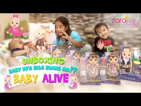 Zara dan Kenzo Heboh unboxing Boneka Baby Alive Sweet Spoonfuls   Bisa Makan dan Buang Air