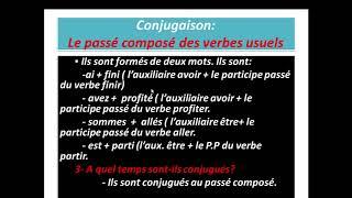 Conjugaison Le Passe Compose Des Verbes Usuels La 6eme Annee Mes Apprentissages Page 32 Youtube