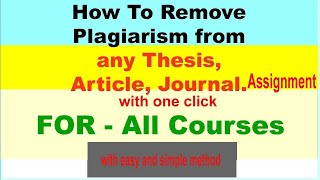 Easy trick to remove plagiarism ||100% from any type of document ||Just In One Click