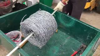 How to put up a barbwire fence Easy way to run wire Using Fence Fork T post Clips