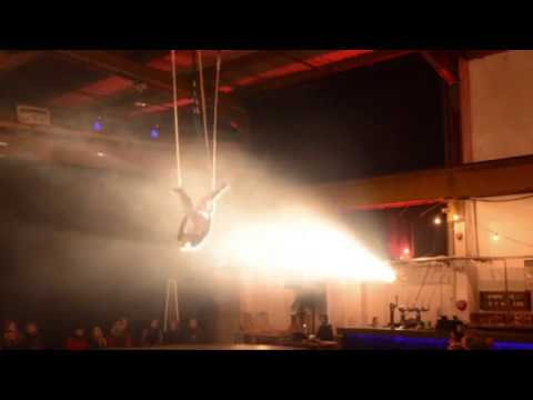 Static trapeze act, 2016. Filmed at the Mary Bijou Cabaret and Social Club's Christmas Cabaret.