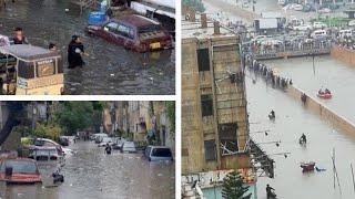 باكستان أمطار غزيره وفيضانات في كراتشي