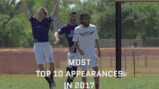 Most Top 10 Appearances — 2017 AUDL Season