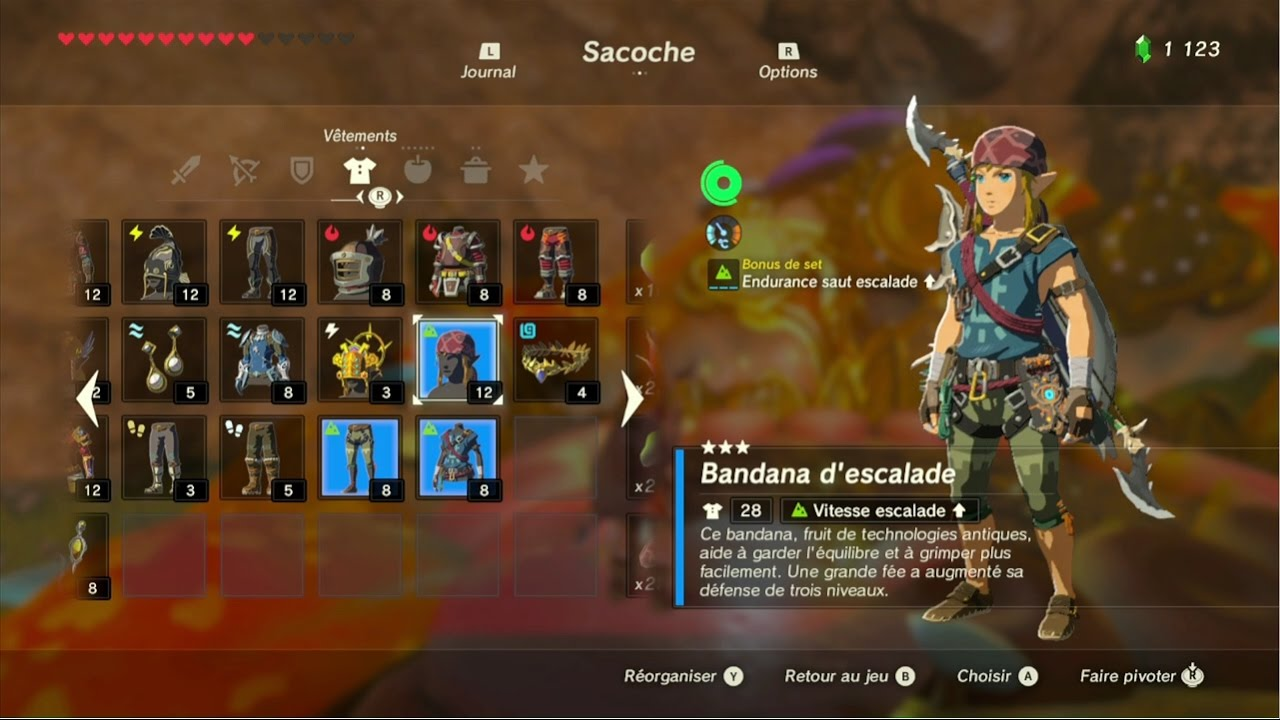The Legend of Zelda: BotW - Guide de la tenue d'escalade