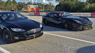 Tesla Model S P85d Vs Ferrari F12 1/4 Mile Drag Racing