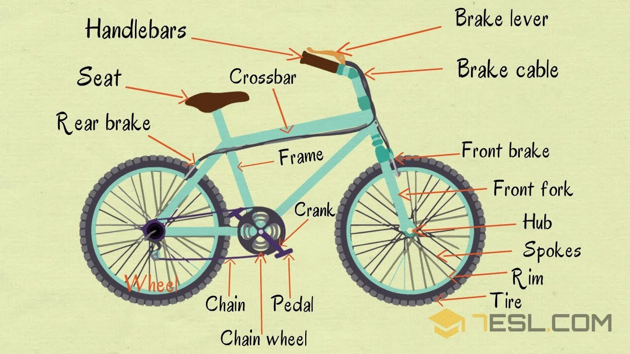 Bike Parts Useful Parts Of A Bicycle In English With Pictures Youtube