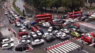 Chaotic traffic jam at Skopje intersection