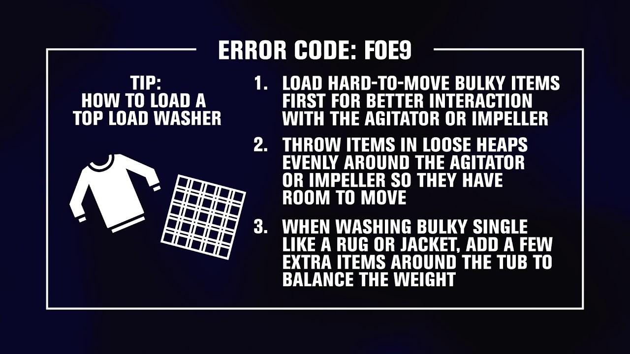 f0e9 error code top load washer