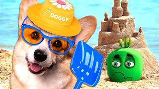 Funny Dog And Alien - Beach Picnic Party