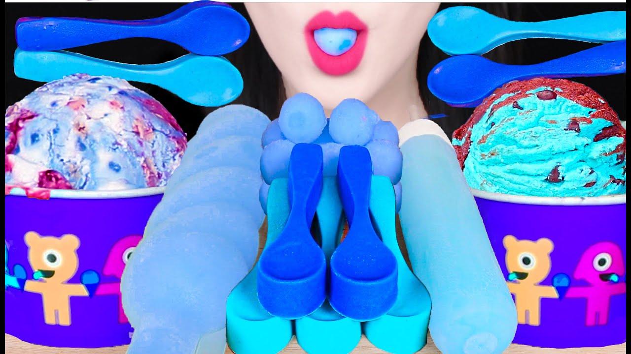 ASMR BLUE ICE CREAM *EDIBLE SPOON, ICE CREAM PINT, TUBE POPSICLE 베라 아이스크림, 먹는 숟가락 먹방 EATING SOUNDS