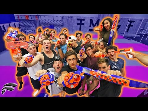EPIC NERF WAR AT SUPER TRAMPOLINE PARK!