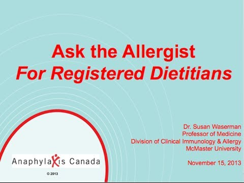 """Anaphylaxis Canada presents """"Ask the Allergist for Registered Dietitians"""""""