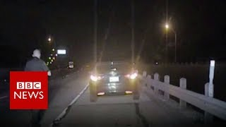 Drunk driver crashing into police officer   BBC News
