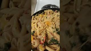 "Finished Product: I made ""rasta pasta"" w/shrimp for meal prep"