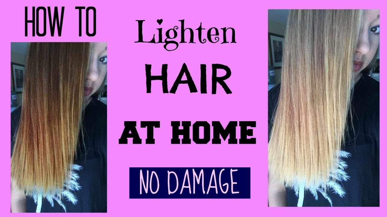How To Lighten Hair At Home No Damage Maddie Ryles Youtube