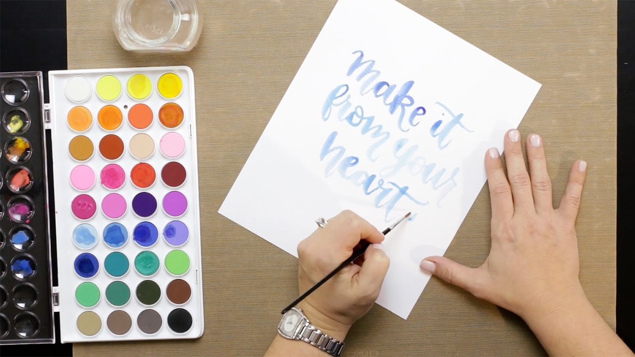 Brush calligraphy with watercolor youtube