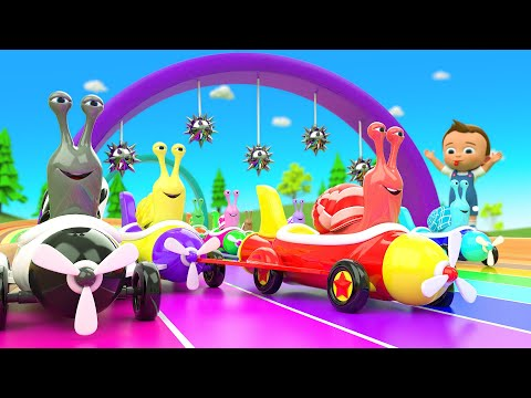 Little Baby Boy & Girl Fun Play with Snail Racing Game | Kids Race Games | 3D Animated Educational