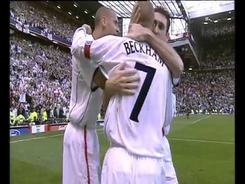 David Beckham's injury time free kick against Greece