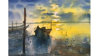 Watercolor Painting of a beautiful morning landscape | Prashant Sarkar.