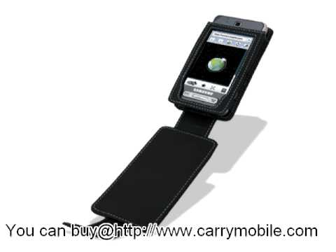 Carrymobile Leather Case for Samsung SGH-T919 Behold - Flip Down Type (Black) Ver. 2