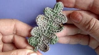 Вязание крючком Лист дуба Урок301 How to crochet oak leaf