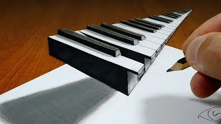 3D Trick Art on Paper   Piano   Optical Illusion