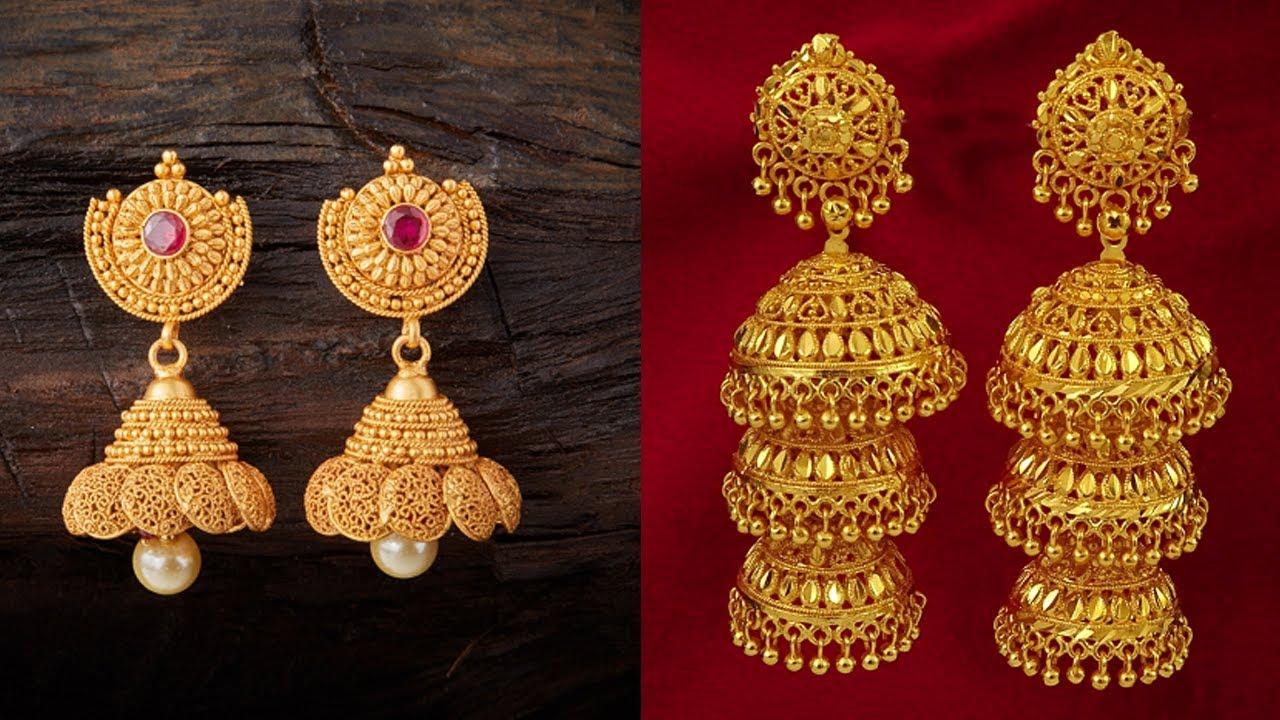 9e11c1501 Beautiful Designs of Gold Jhumkas - YouTube